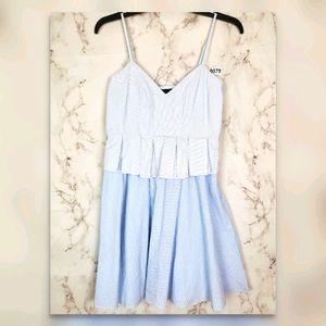 ROMEO & JULIET Peplum Summer Dress Blue Striped S